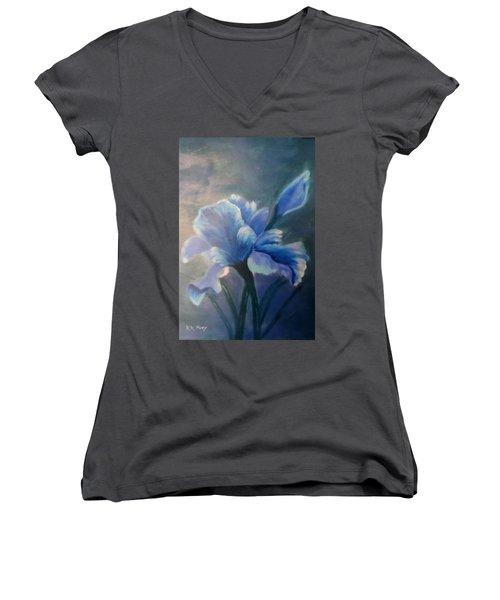Iris Blue Women's V-Neck T-Shirt (Junior Cut) by Kay Novy