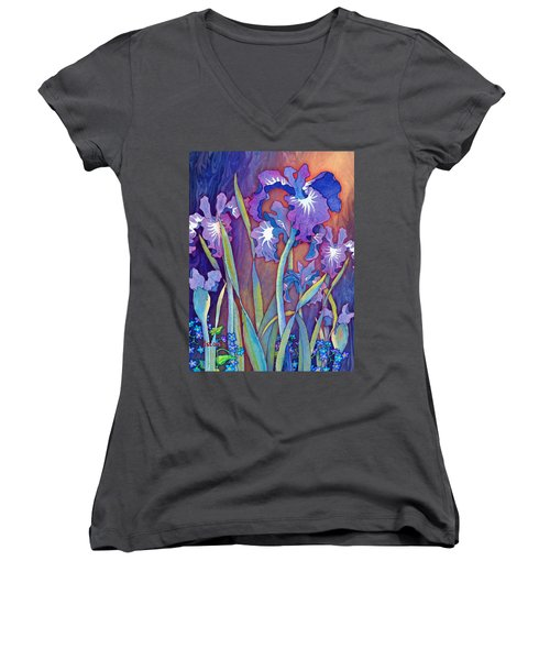 Women's V-Neck T-Shirt (Junior Cut) featuring the mixed media Iris Bouquet by Teresa Ascone