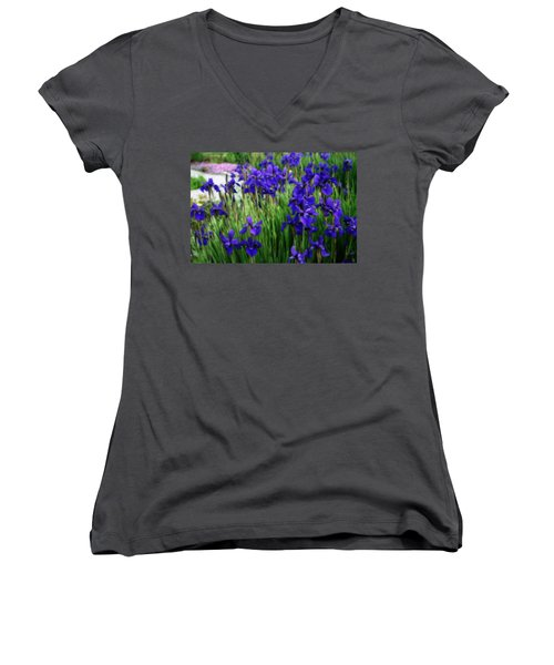 Women's V-Neck T-Shirt (Junior Cut) featuring the photograph Iris In The Field by Kay Novy