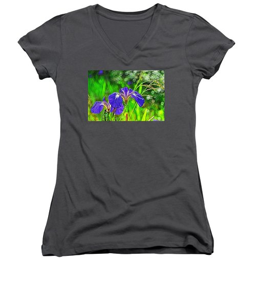 Women's V-Neck T-Shirt (Junior Cut) featuring the photograph Irises by Cathy Mahnke