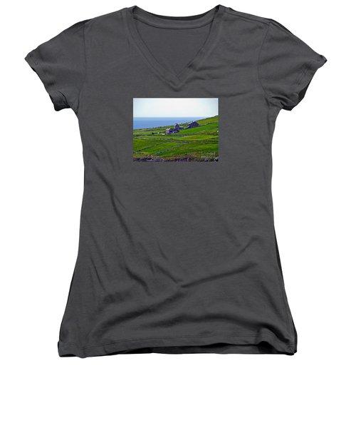 Irish Farm 1 Women's V-Neck T-Shirt (Junior Cut) by Patricia Griffin Brett