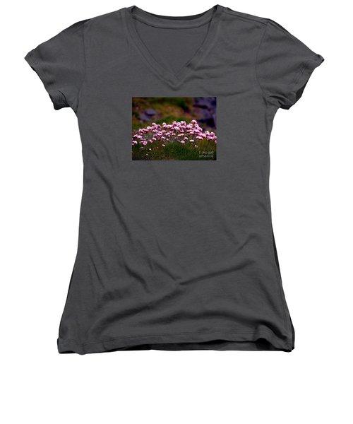 Irish Sea Pinks Women's V-Neck T-Shirt (Junior Cut) by Patricia Griffin Brett