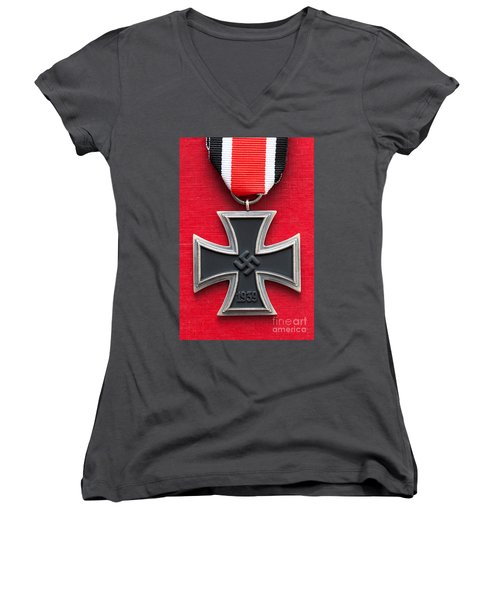 Iron Cross Medal Women's V-Neck T-Shirt (Junior Cut) by Lee Avison
