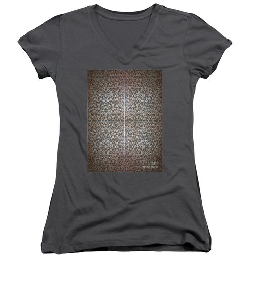 Islamic Wooden Texture Women's V-Neck T-Shirt (Junior Cut) by Antony McAulay