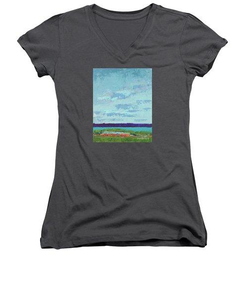 Island Estuary Women's V-Neck T-Shirt (Junior Cut) by Gail Kent