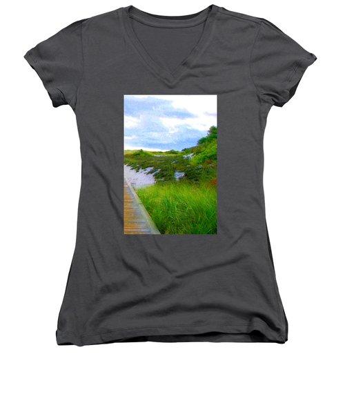 Island State Park Boardwalk Women's V-Neck T-Shirt