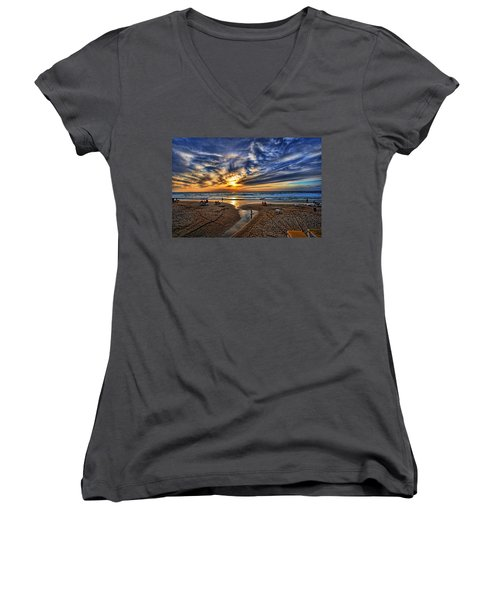 Women's V-Neck T-Shirt featuring the photograph Israel Sweet Child In Time by Ron Shoshani
