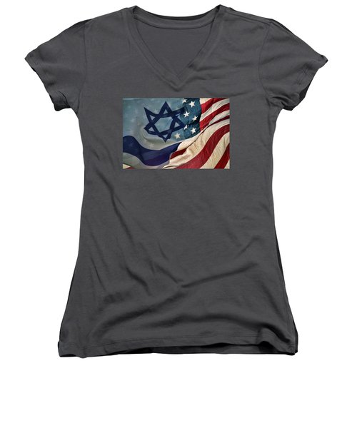 Israeli American Flags Women's V-Neck T-Shirt (Junior Cut) by Ken Smith