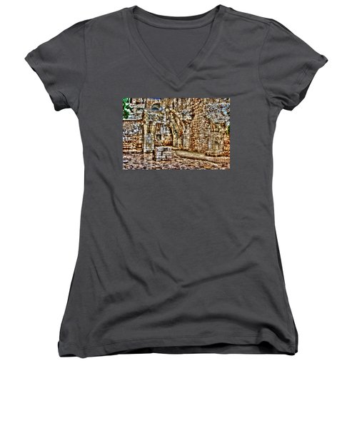Women's V-Neck T-Shirt (Junior Cut) featuring the photograph Israels Ruins by Doc Braham