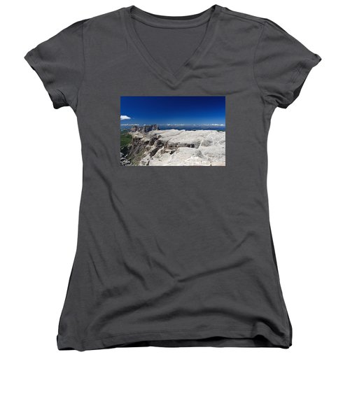 Women's V-Neck T-Shirt (Junior Cut) featuring the photograph Italian Dolomites - Sella Group by Antonio Scarpi