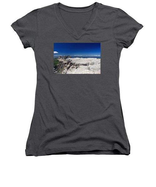 Italian Dolomites - Sella Group Women's V-Neck T-Shirt (Junior Cut) by Antonio Scarpi