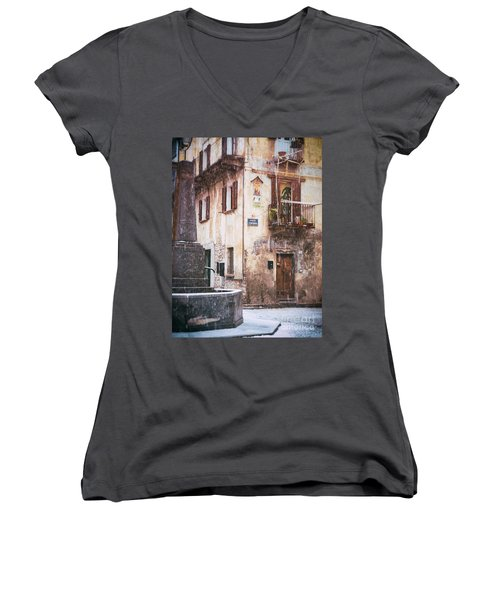 Women's V-Neck T-Shirt (Junior Cut) featuring the photograph Italian Square In  Snow by Silvia Ganora
