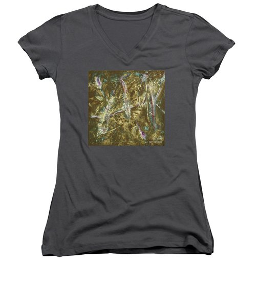 Women's V-Neck T-Shirt (Junior Cut) featuring the painting It's Crazy Out There by Mini Arora