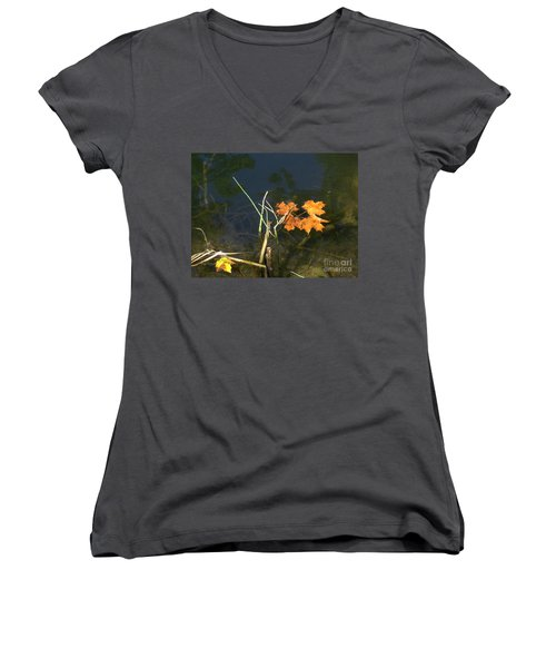 Women's V-Neck T-Shirt (Junior Cut) featuring the photograph It's Over - Leafs On Pond by Brenda Brown