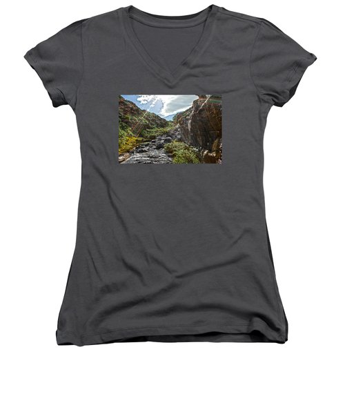 Women's V-Neck T-Shirt (Junior Cut) featuring the photograph Its Raining Rainbows by Miroslava Jurcik