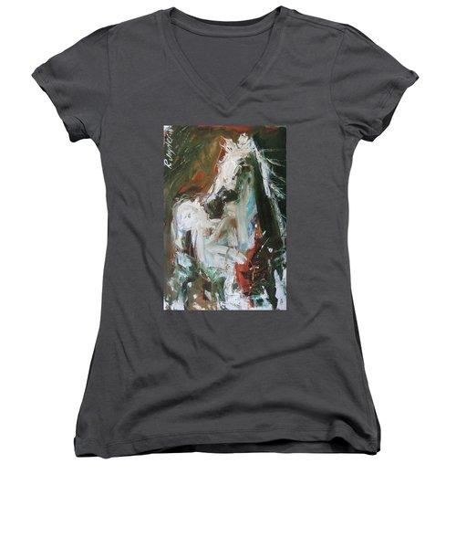 Women's V-Neck T-Shirt (Junior Cut) featuring the painting Ivory by Robert Joyner