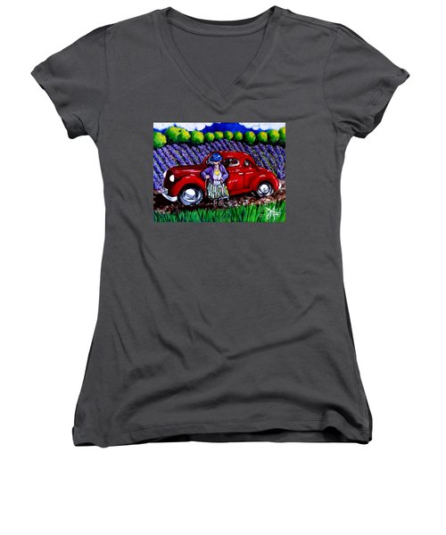 Women's V-Neck T-Shirt (Junior Cut) featuring the painting J. C. 1931 Fishing In Red by Jackie Carpenter