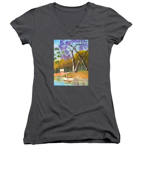 Women's V-Neck T-Shirt (Junior Cut) featuring the painting Jacaranda Tree by Pamela  Meredith