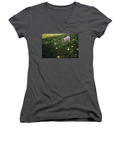 Jack Russell Terrier Tennis Balls Women's V-Neck T-Shirt