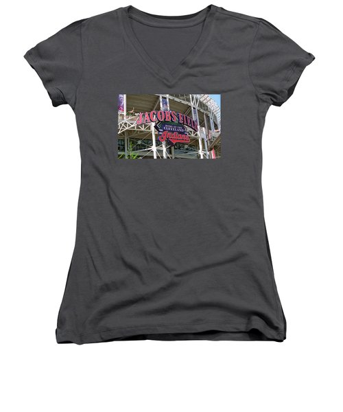Jacobs Field - Cleveland Indians Women's V-Neck T-Shirt (Junior Cut) by Frank Romeo