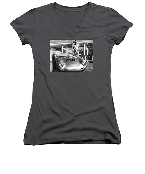 James Dean Filling His Spyder With Gas Black And White Women's V-Neck T-Shirt (Junior Cut) by Doc Braham