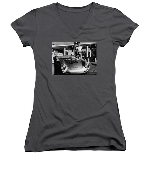 James Dean Filling His Spyder With Gas In Black And White Women's V-Neck