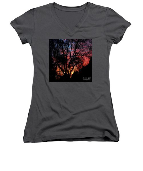Women's V-Neck T-Shirt (Junior Cut) featuring the photograph January Dawn by Luther Fine Art