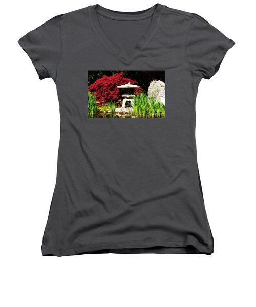 Japanese Garden Women's V-Neck T-Shirt (Junior Cut) by Angela DeFrias