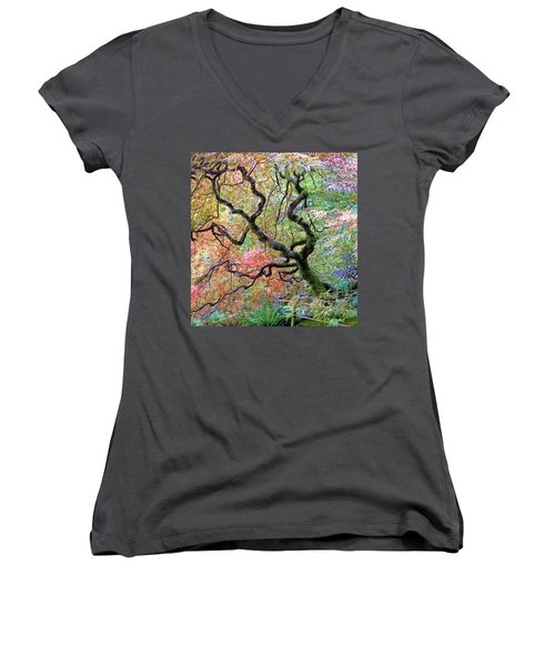 Women's V-Neck T-Shirt (Junior Cut) featuring the photograph Japanese Maple by Wendy McKennon