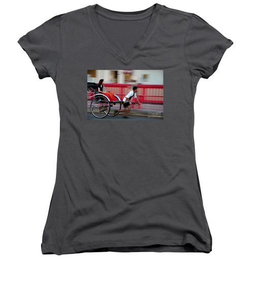 Japanese Tourists Ride Rickshaw In Tokyo Japan Women's V-Neck (Athletic Fit)