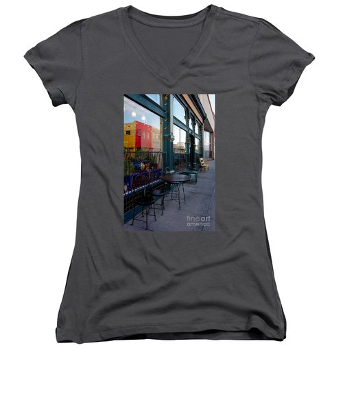 Women's V-Neck T-Shirt (Junior Cut) featuring the photograph Java Time by Vicki Pelham