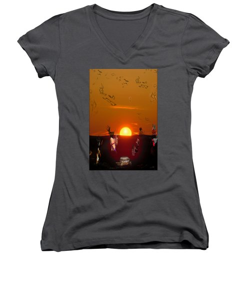 Women's V-Neck T-Shirt (Junior Cut) featuring the digital art Jazz Fest by Cathy Anderson