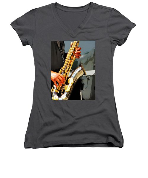 Jazz Man Women's V-Neck T-Shirt (Junior Cut) by John Freidenberg