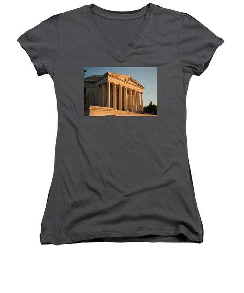 Jefferson Memorial Sunset Women's V-Neck T-Shirt (Junior Cut) by Steve Gadomski