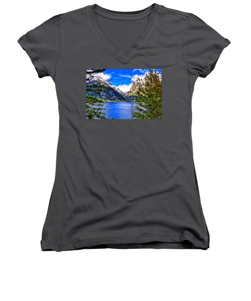 Women's V-Neck T-Shirt (Junior Cut) featuring the painting Jenny Lake by Michael Pickett