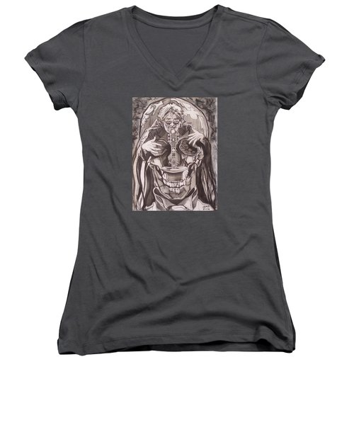 Jerry Garcia . . Magic Is What We Do - Music Is How We Do It Women's V-Neck T-Shirt (Junior Cut) by Sean Connolly