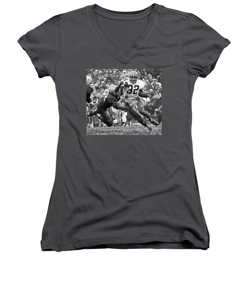 Jim Brown #32 Women's V-Neck (Athletic Fit)