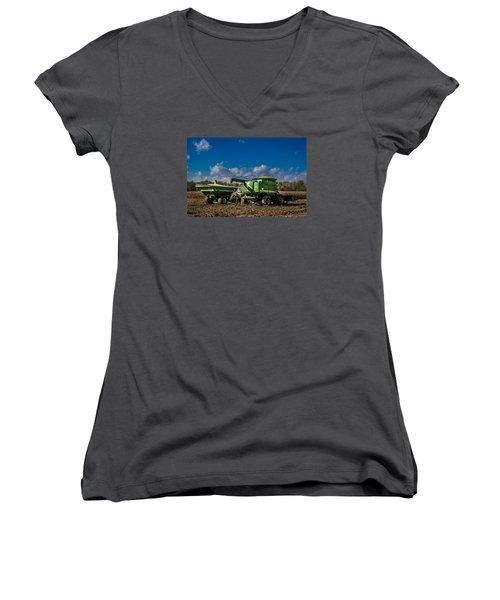 John Deere Combine 9770 Women's V-Neck T-Shirt
