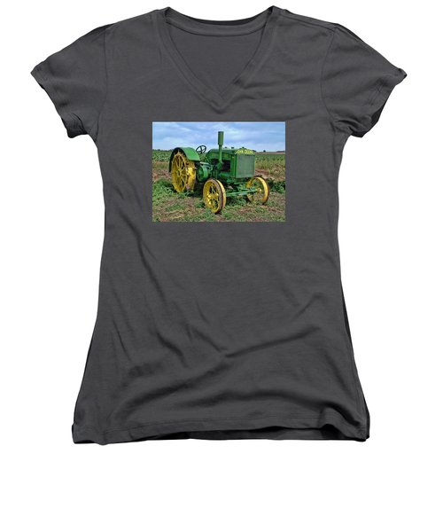 John Deere Tractor Hdr Women's V-Neck (Athletic Fit)