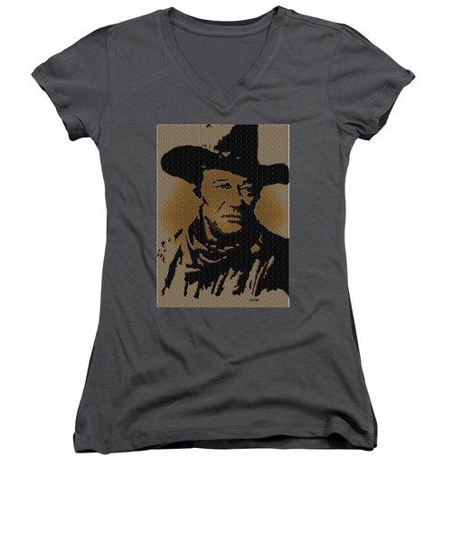 John Wayne Lives Women's V-Neck T-Shirt (Junior Cut) by Robert Margetts