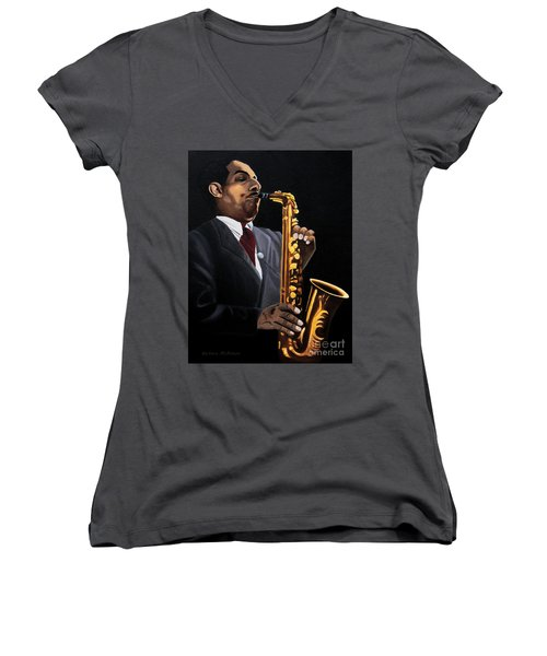 Johnny And The Sax Women's V-Neck T-Shirt (Junior Cut) by Barbara McMahon