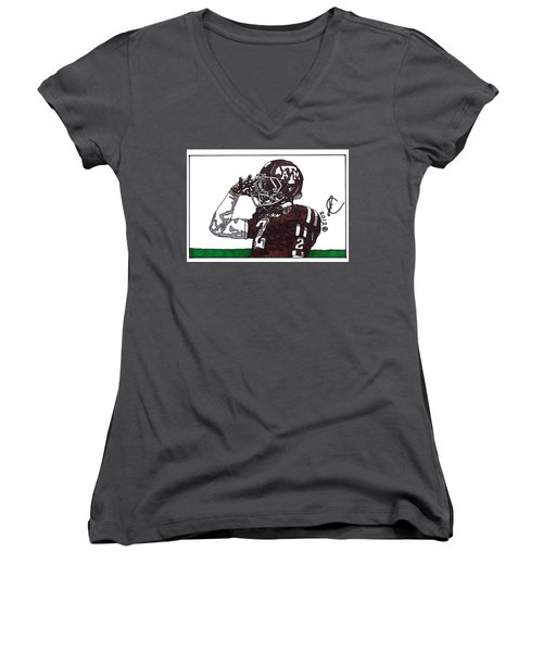 Johnny Manziel The Salute Women's V-Neck T-Shirt (Junior Cut) by Jeremiah Colley