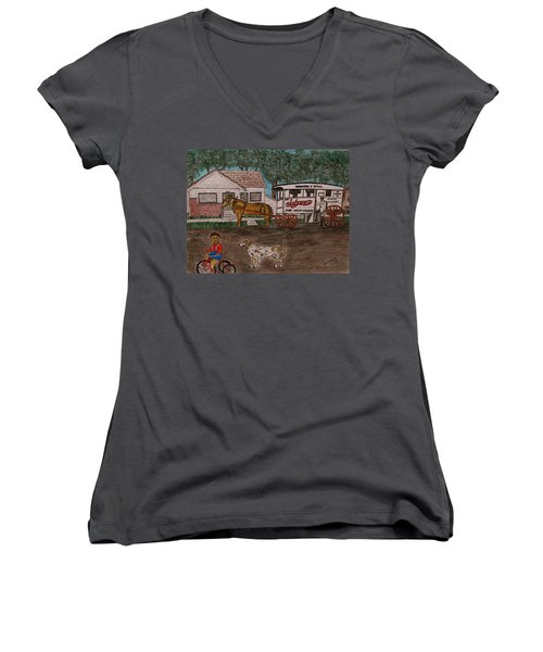 Women's V-Neck T-Shirt (Junior Cut) featuring the painting Johnsons Milk Wagon Pulled By A Horse  by Kathy Marrs Chandler