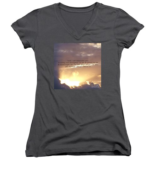 Joshua 1 Women's V-Neck T-Shirt (Junior Cut) by Andrea Anderegg