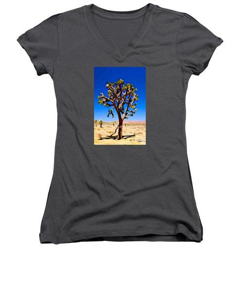 Joshua Tree Dark Women's V-Neck T-Shirt (Junior Cut) by Jeff Iverson