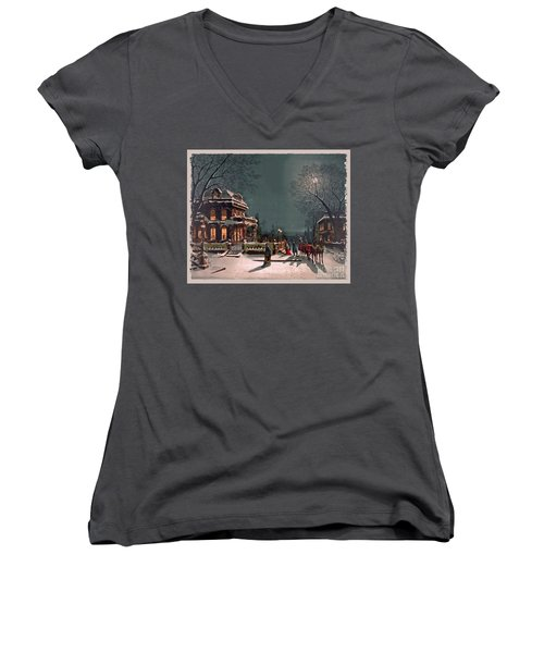 Women's V-Neck T-Shirt (Junior Cut) featuring the digital art Joy Of The Season by Lianne Schneider