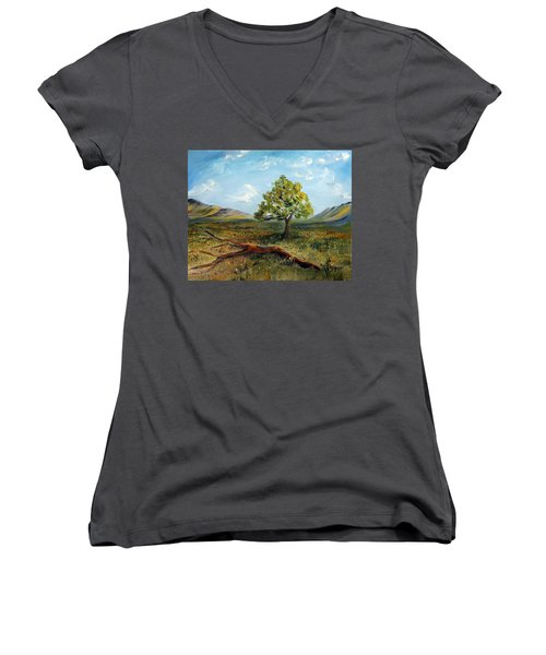 Women's V-Neck T-Shirt (Junior Cut) featuring the painting Jubilant Fields by Meaghan Troup