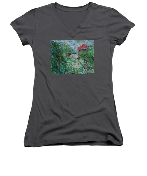 June Women's V-Neck T-Shirt (Junior Cut) by Anna Yurasovsky