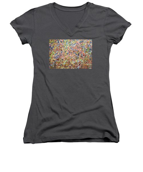 Women's V-Neck T-Shirt (Junior Cut) featuring the painting June by James W Johnson