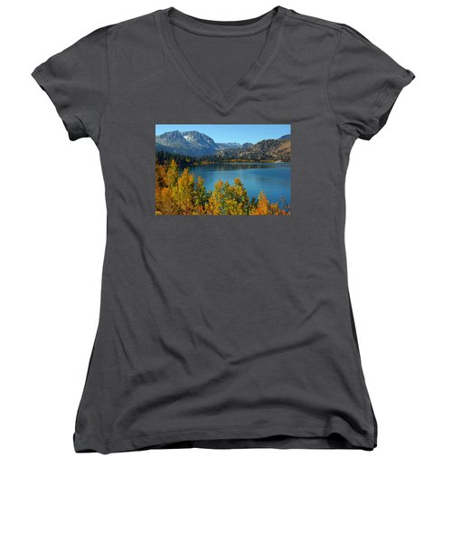 Women's V-Neck T-Shirt (Junior Cut) featuring the photograph June Lake Blues And Golds by Lynn Bauer